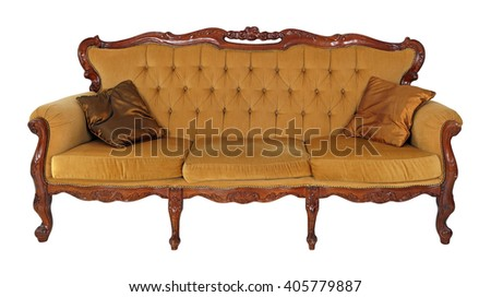 Old wooden sofa isolated on white background - stock photo