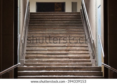 Old wooden staircase - stock photo