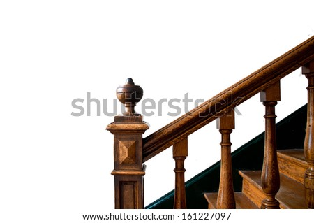 Old wooden staircase with handrail  - stock photo
