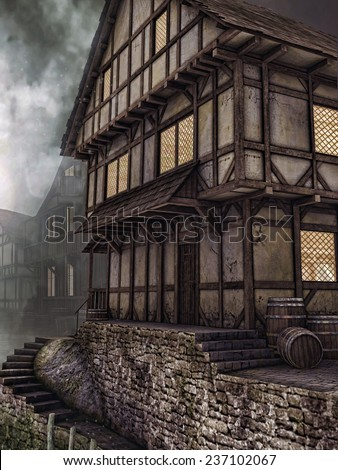Old wooden tavern in a medieval town - stock photo