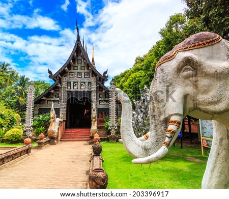 Old wooden Temple of Wat Lok Molee Chiang mai Thailand  - stock photo