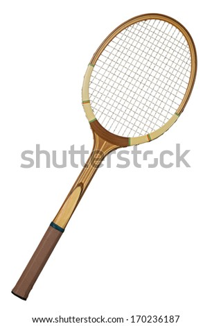 Old wooden tennis racket isolated on white background - stock photo
