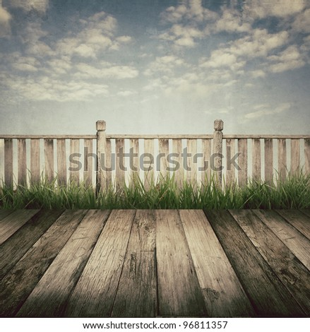 old wooden terrace and blue sky, vintage style - stock photo