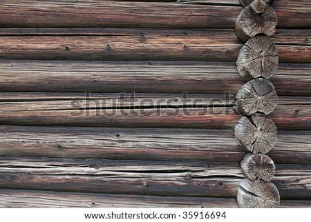 Old wooden timbered wall of a house - stock photo