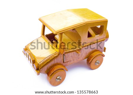 old wooden toy car - stock photo
