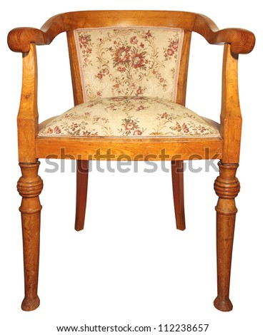 Old wooden very comfortable chair isolated on white background - stock photo