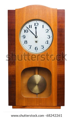 Old wooden wall clock isolated on white - stock photo