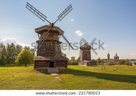 Old wooden windmill in Suzdal, Russia - stock photo