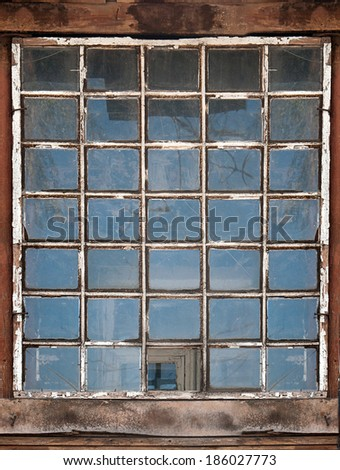 old wooden window background - stock photo