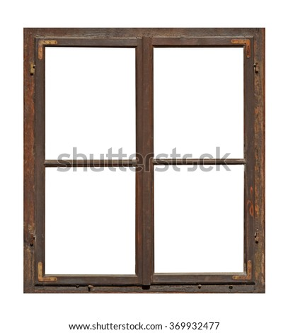 Old wooden window with four pane - stock photo