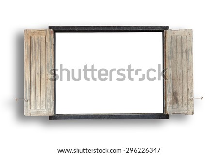 Old wooden windows frame on cement wall isolated on white background - stock photo