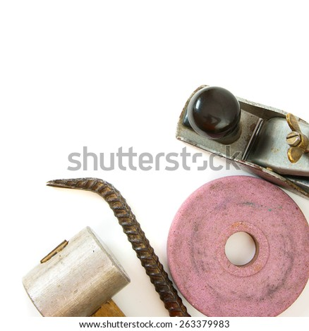 Old working tools. Vintage working tools ( mount, plane and others) on white background. - stock photo