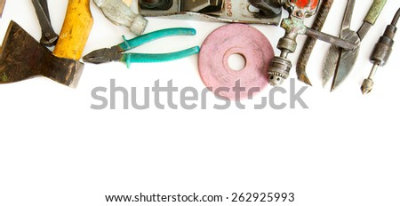 Old working tools. Vintage working tools ( scissors, pliers and others) on white background. - stock photo