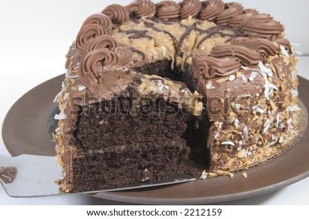 Old world German Chocolate Cake Slice - stock photo