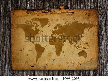 Old world map put on the old wood. - stock photo