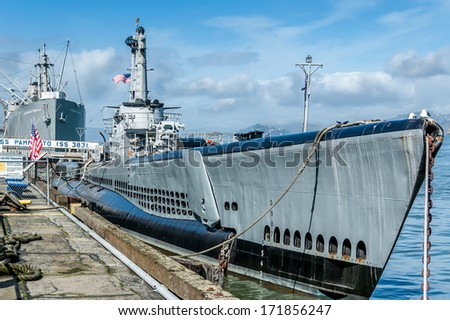 Old World War 2 submarine docked in San Francisco. Now a museum - stock photo