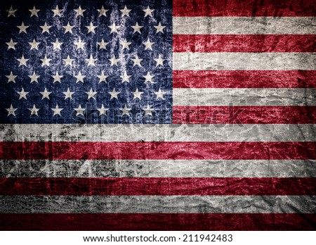 old worn and grunge American flag  - stock photo