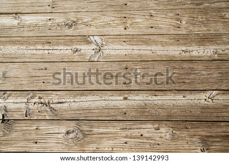 Old, worn and sandy beach planks on a boardwalk - stock photo