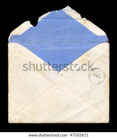 Old, worn and tattered envelope - stock photo