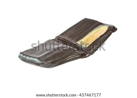 Old worn black wallet damaged - stock photo