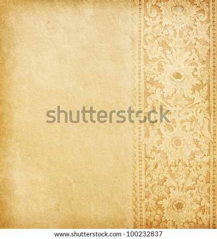 Old worn paper with oriental ornament. - stock photo