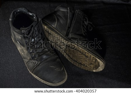 old worn shoes - stock photo