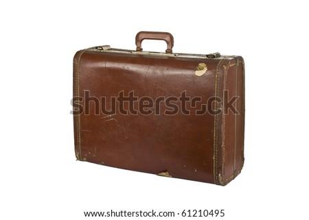 Old worn vintage suitcase. Isolated on white. - stock photo