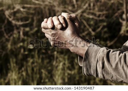 old wrinkled hands.   - stock photo