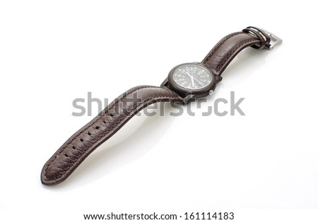 Old wristwatch with leather strap  isolate on white background - stock photo