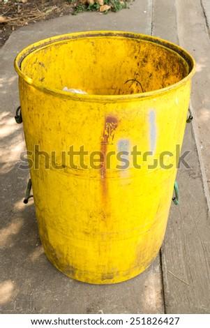old yellow garbage bins  - stock photo