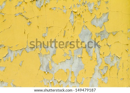 old yellow paint wall texture  - stock photo
