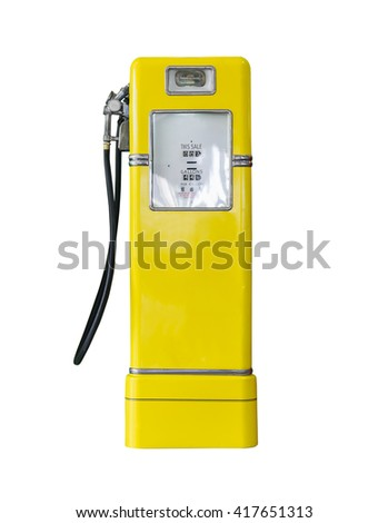 Old yellow petrol gasoline pump isolate on white background - stock photo