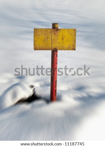 old yellow rusty tablet on blured snow background - stock photo