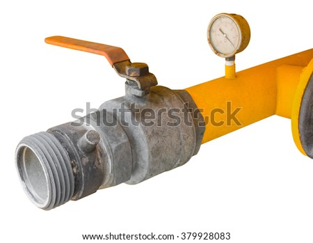 Old Yellow Water Truck Valve Isolated - stock photo