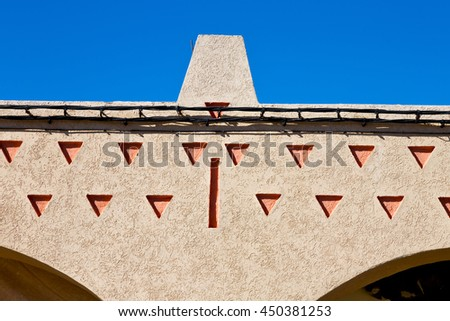 olddoor in morocco  africa ancien and wall ornate brown blue - stock photo