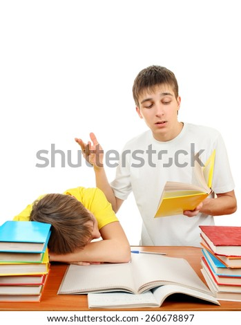 Older Brother and Bored Little Brother doing Homework on the White Background - stock photo