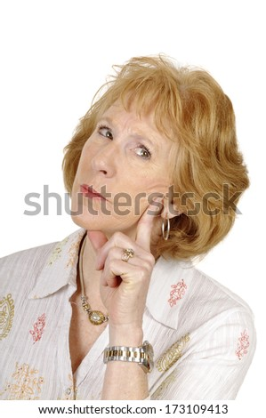 older business woman thinking about a situation contemplating the options isolated on white with room for your text - stock photo