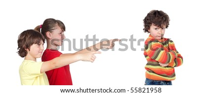 Older children laughing at a toddler angry isolated on white background - stock photo