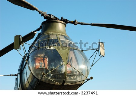 Older german Military Helicopter H-21 - stock photo