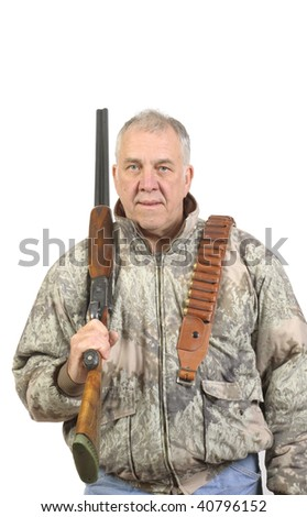 Older hunter in sage camouflage with shotgun and ammo belt over shoulder isolated on white - stock photo