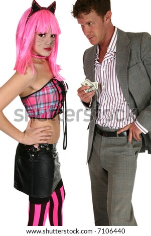 Older man offering young woman in kitten costume for services. - stock photo