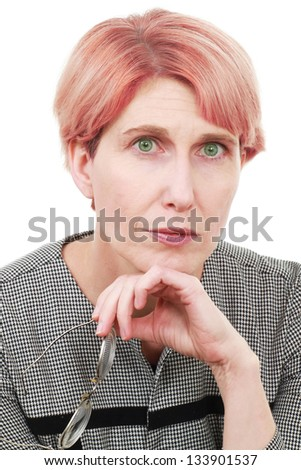 Older woman thinking - stock photo