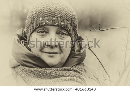 Older woman thinking black and white photography - stock photo