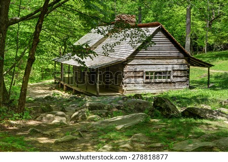Olgle cabin great smoky mountains - stock photo