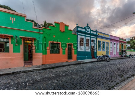 OLINDA, BRASIL - December 22, 2013: The colourful houses  in the old town of Olinda, Pernambuco, Brasil. - stock photo