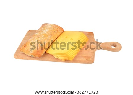 Olive ciabatta with cheese on wooden board. isolated on white - stock photo