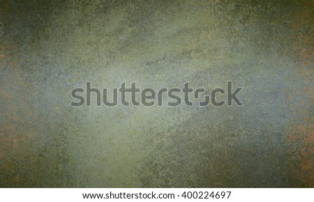 olive green and gray background with orange grunge, old vintage background design - stock photo