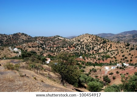 Olive groves and fincas in the mountains, Between Antequera and Alora, Costa del Sol, Malaga Province, Andalusia, Spain, Western Europe. - stock photo