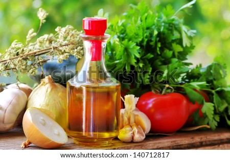 Olive oil and Mediterranean cuisine Ingredients - stock photo