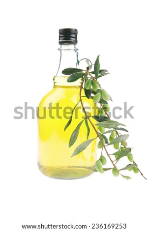 olive oil and olives on white background - stock photo
